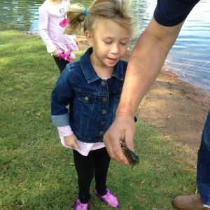 Emmies first fish with papa bill 2014