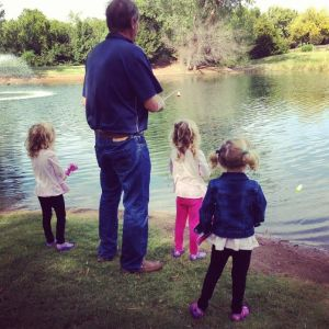 Girls fishing with Papa Bill